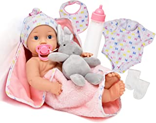 Realistic Newborn Baby Doll with Magic Disappearing Milk Bottle, Pacifier, Bib, Teddy Bear and Soft Blanket Accessories, 1...
