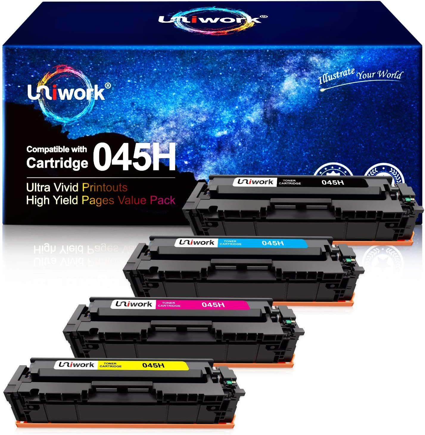 Uniwork Compatible Toner Cartridge Replacement for Canon 045 045H Cartridge 045 CRG-045H for Color imageCLASS MF634Cdw MF632Cdw LBP612Cdw MF632 MF634 Laser Printer Toner Ink Tray, 4 Pack
