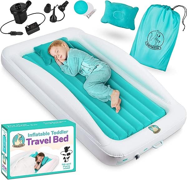 带侧边的幼儿充气床垫包括气泵枕头旅行包和修理包幼儿和儿童旅行床充气床垫,配有超高安全缓冲器