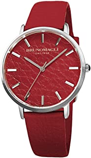 Bruno Magli Women's Roma 1163 Swiss Quartz Unique Red Italian Leather Dial Strap Watch