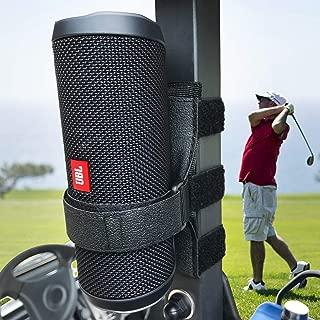 HomeMount Portable Speaker Mount for Golf Cart Accessories - Adjustable Strap Fits Bluetooth Wireless Speaker Strap Attachment to Railing/Cross bar/Frame Black