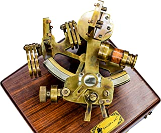 SAILOR'S ART Antique Brass Sextant Instrument for Navigation Henry Barrow & CO Nautical 6 Inch Sextant with Wooden Box