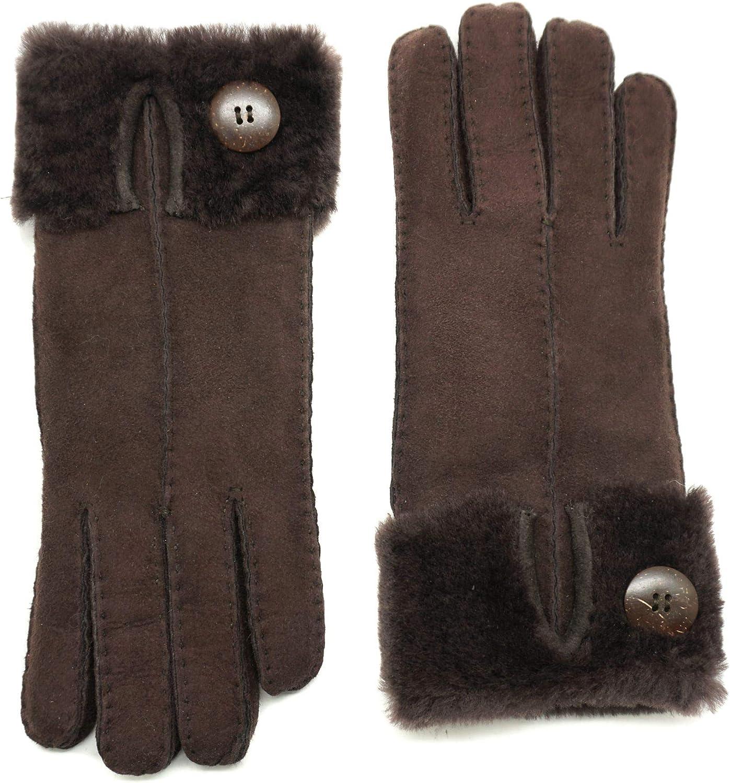 YISEVEN Womens Winter Merino Lambskin Shearling Leather Gloves Flip Cuff Mittens