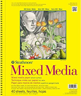 """Strathmore 362-11 300 Series Mixed Media Pad, 11""""x14"""" Wire Bound, 40 Sheets White"""