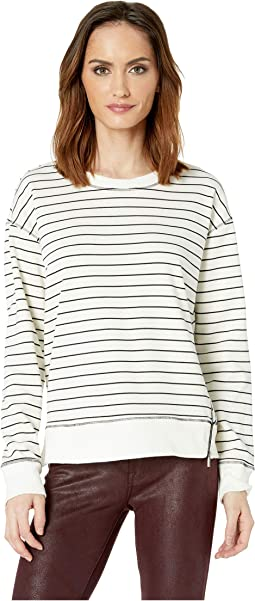 Long Sleeve Stripe Jersey Rib Hem Side Zip Pullover