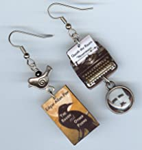 Book Cover Typewriter Earrings - The Raven Poe jewelry - Quote Nevermore - Literary gift