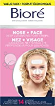 Bioré Nose+Face, Deep Cleansing Pore Strips, 14 Count, 7 Nose + 7 Chin or Forehead, with Instant Blackhead Removal and Pore Unclogging, Oil-free, Non-Comedogenic Use
