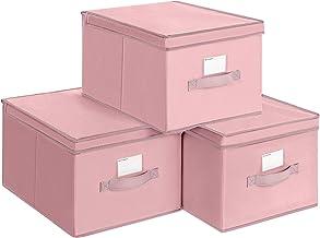 SONGMICS RFB03PK składane pudełka, zestaw 3-częściowy, pudełka do przechowywania z pokrywką, pudełka z materiału z uchwyte...