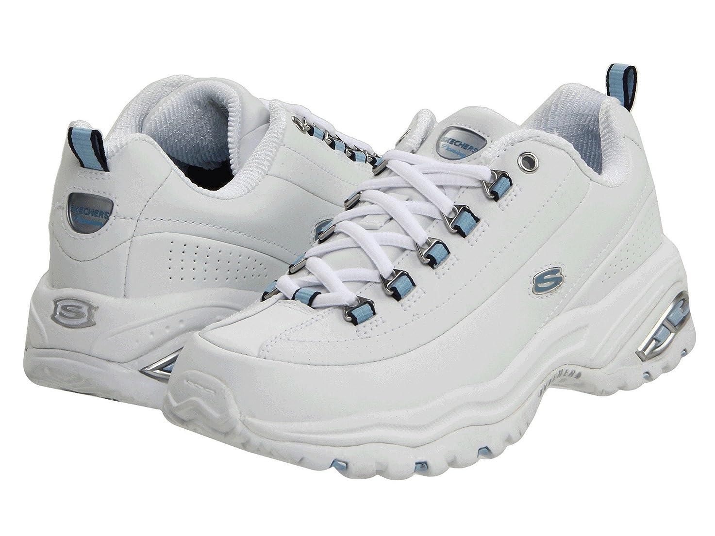 考古学的なきちんとした秋レディーススニーカー?ウォーキングシューズ?靴 Premiums White Smooth Leather/Blue Trim 5.5 (22.5cm) EE - Extra Wide [並行輸入品]