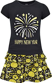 Girls Happy New Year 2 Piece Skirt Set Outfit