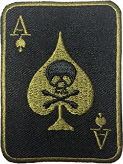 Papapatch Spades Card Cross Bone A Poker Embroidered Iron on Patch - Black (IRON-SPAD-CROS-BLCK)