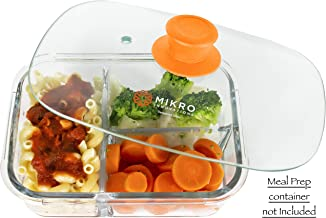 Glass Meal Prep Container Microwave Food Cover – Rectangular Tempered Glass Lid with Vent hole - Microwave and Dishwasher Safe – Easy Grip Silicone Knob - Orange