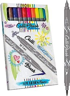 ONLINE 19051 Calli.Brush Pen Set 10 pcs., double tip with calligraphy nib and brush I Brushpen I Journaling I Calligraphy...