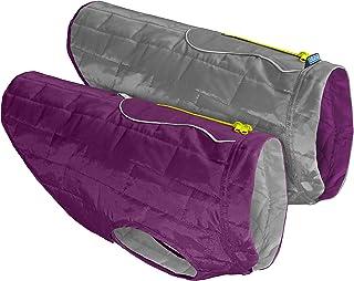 Kurgo Loft Jacket, Reversible Dog Coat, Dog Coat for Cold Weather, Water-Resistant Dog Jacket with Reflective Trim, Purple/Grey, X-Small