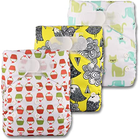 Reusable Pocket Cloth Nappy with 5 Bamboo Inserts V501bb1 Littles /& Bloomz Fastener: Hook-Loop