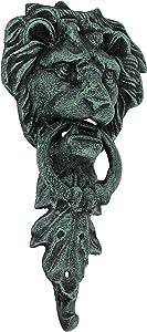 Green Verdigris Cast Iron Lion Head Door Knocker