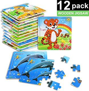 XPCARE Wooden Jigsaw Puzzles Set for Children 20 Piece Animals Colorful Wooden Puzzles(12 Pack)