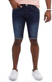 X RAY Slim Jean Shorts for Men, Men's Stretch Casual Denim Shorts Slim Fit, Distressed, Roll Cuff Bermuda Short