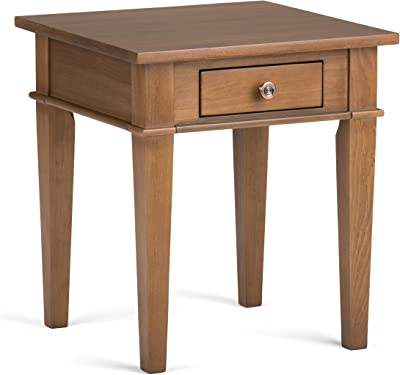 Simpli Home Carlton SOLID WOOD 18 inch wide Square Contemporary End Side Table in Medium Saddle Brown with Storage, 1 Drawer, for the Living Room and Bedroom