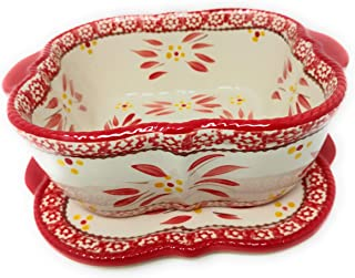 Temp-tations Sculpted Baking Dish/Baker/Casserole Dish 1.5 Qt w/Lid-It (Trivet) (Old World Red)
