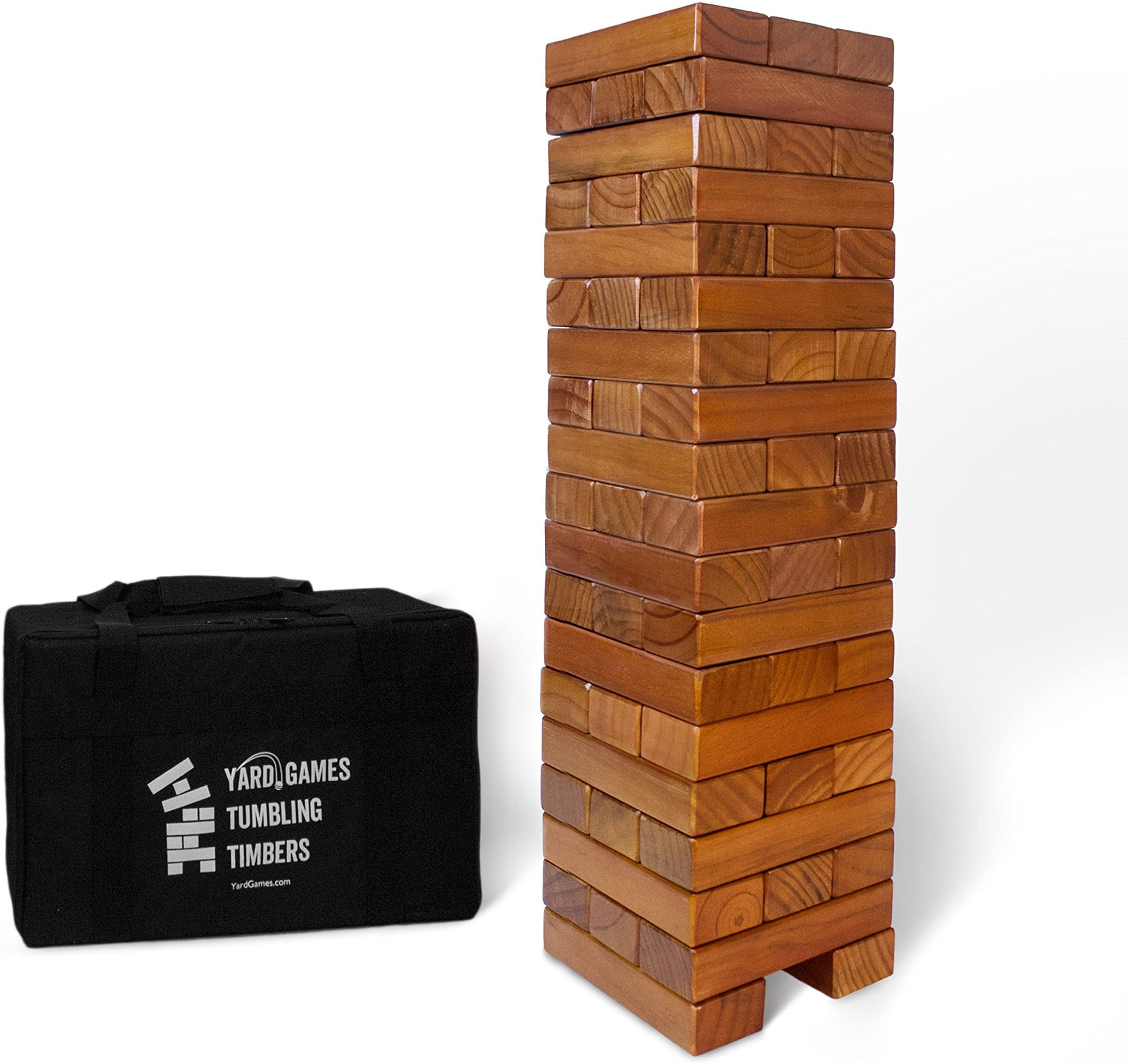 Giant Tumbling Timbers Stained and Finished Set with Durable Carrying Case