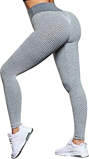 SUUKSESS Sexy Butt Lifting Leggings for Women Honeycomb High Waisted Workout Tights Pants