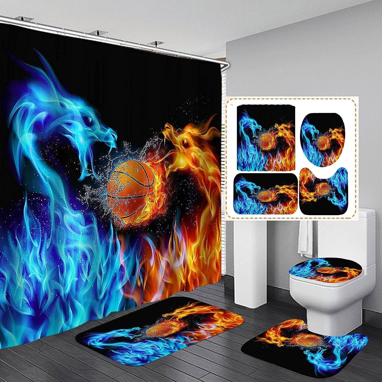 OLEBETY 4PCS Set Max 78% Denver Mall OFF Fantasy Orange Shower Flam Dragon Blue Curtain