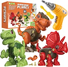 Fundia Take Apart Dinosaur Toys for Kids, 3 Pack Dino Set Kids Learning Toys with Electric Drill for 3-7 Year Old Boys and...