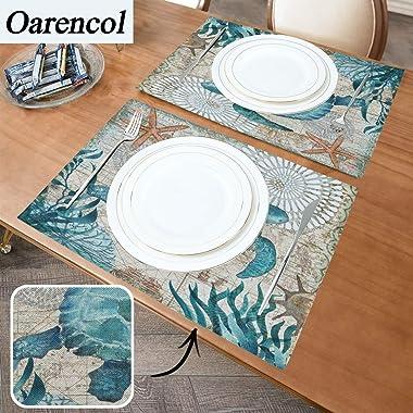 Oarencol Vintage Animal Sea Turtle Placemat Table Mats Set of 4, Blue Tortoise Nautical Map Starfish Seaweed Heat-Resistant W