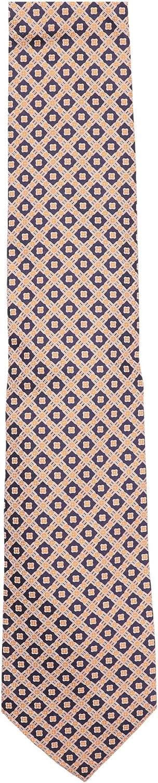 Stefano Ricci Men's Orange/Navy Diamond Cravatta In Seta Stampata Luxury Necktie - One Size