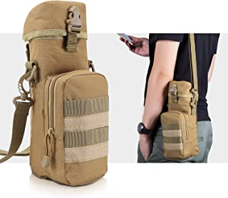 BIENNA Tactical Bag, Military Water Bottle Bag w/Small Pocket & Adjustable Shoulder Strap [Thermal Insulation] [Waterproof] Nylon Molle Gear Zipper Waist Pouch Holder Outdoors Travel for Men Women