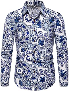 utda.sh-fs Men's Shirt Long Sleeve Print Stand Collar Hawaiian Button Slim Fit
