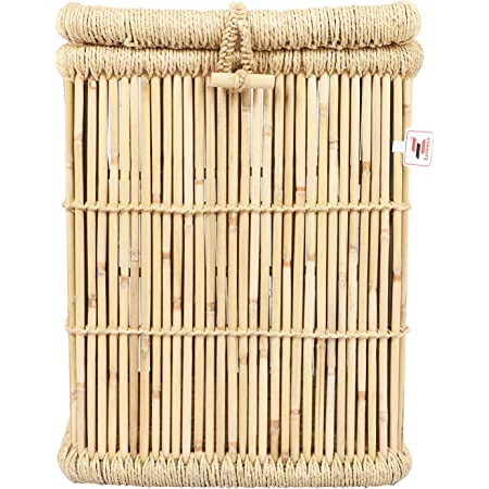 EXTENSO Eco-Friendly Natural Bamboo Cane Hand Made Laundry Basket/Wicker