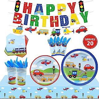 مجموعه لوازم مهمانی حمل و نقل به 20 میهمان خدمات حمل و نقل مهمانی حمل و نقل مهمانی تولدت مبارک بنر سفره بشقاب لیوان دستمال سفره کیف های مخصوص کودکان و نوجوانان ساخت ماشین تم جشن تولد