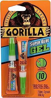 Gorilla Glue Super Glue Gel Tubes, Cyanoacrylate Glue, Anti Clog Precision Cap, No Run Formula, Fast Setting, Clear, Two -...
