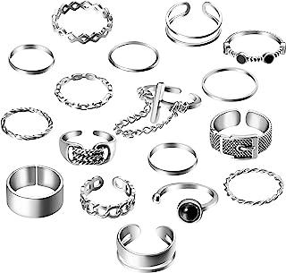 حلقه های گوتیک پانتیک PANTIDE 17Pcs ، حلقه های انگشتی انگشتی حلقه ای قابل تنظیم حلقه های باز زنجیره ای دوچرخه سواری آلیاژی ، حلقه های انگشتی حلقه ای قابل حلقه حلقه ای حلقه های میدینی برای دختران دختر (نقره ای)