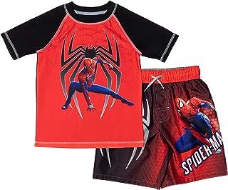 Marvel Avengers Legends Spiderman Toddler Boys Swim Rash Guard Swim Trunks Set Red/Black 4T