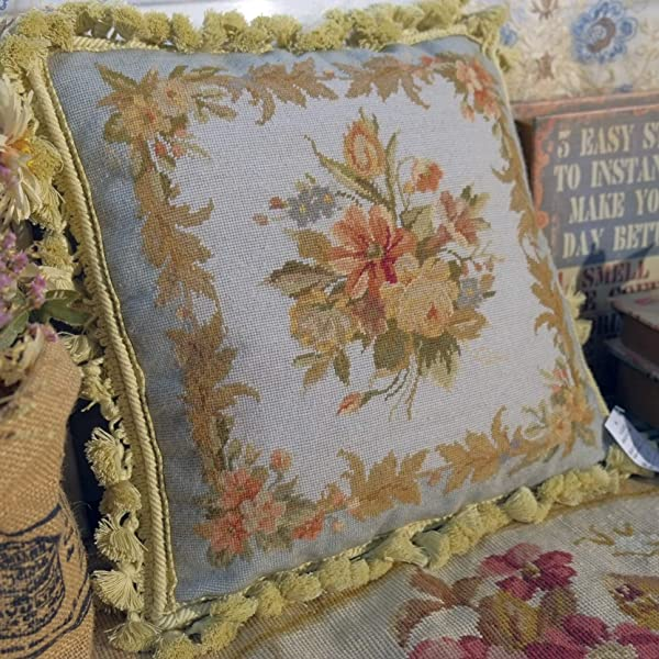 Fine Home Crafts 14 French Country Light Blue Beautiful Sofa Chair Decor Needlepoint Pillow Cover