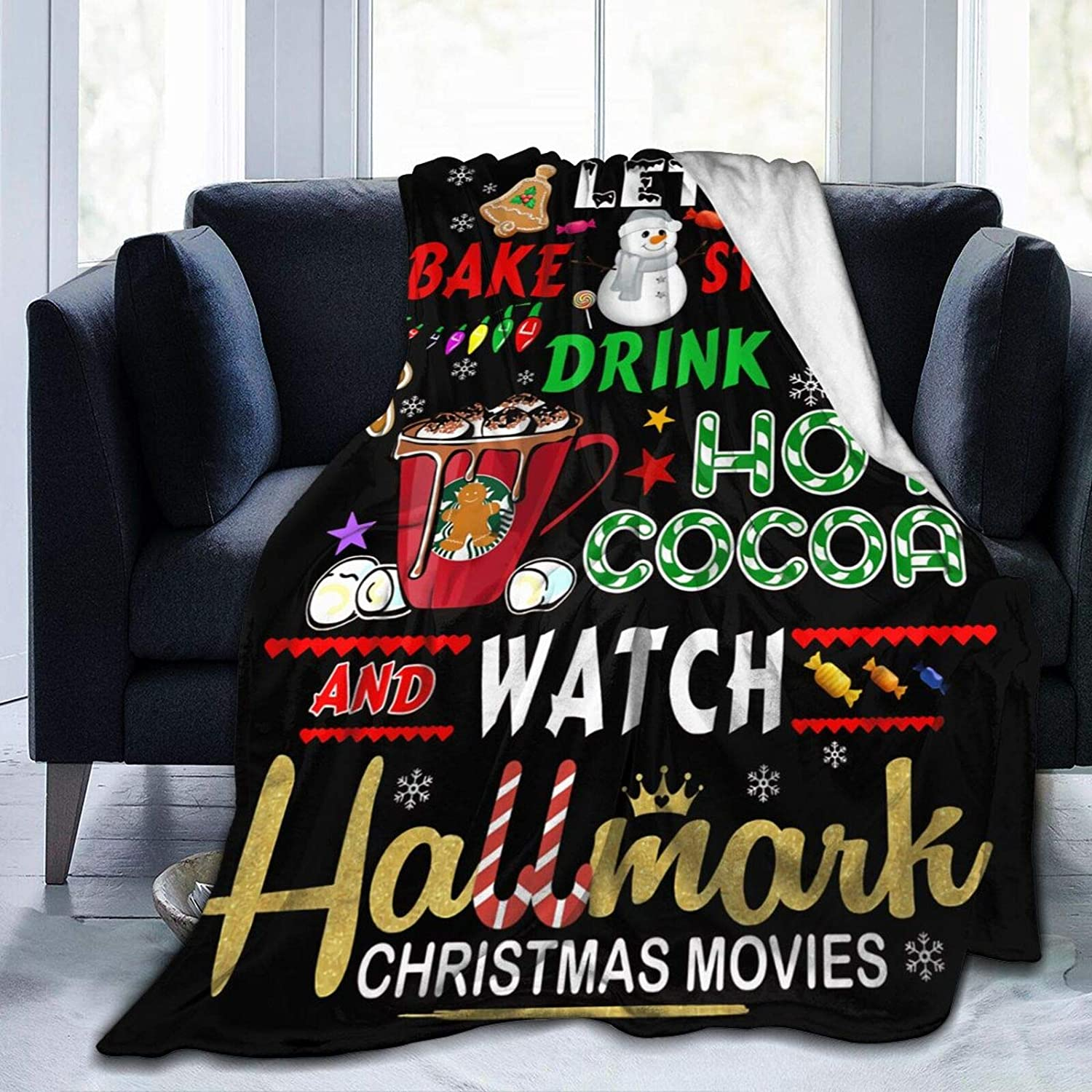 Sale Lets Bake Stuff Drink Hot Cocoa Movies S Christmas High quality new Blanket Watch