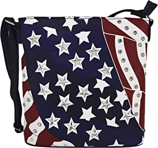 American Flag Stars and Stripes Studded Crossbody Handbag Concealed Carry Purse Women Single Shoulder Bag
