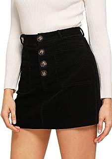 Women's Casual Button Front Mid Waist Above Knee Short Corduroy Skirt