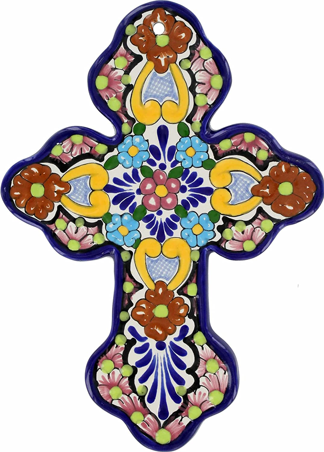 Cross Inexpensive Floral N.5 - Hand Painted Mexican Cheap mail order shopping Hanging Wall Talavera Cr
