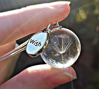 Tarassaco collana pendente argento sterling 925 catena con CONFEZIONE REGALO ciondolo di vetro trasparente argento finissi...