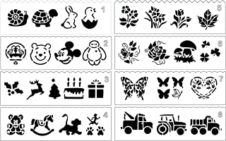 8 Pcs Drawing Painting Stencil Templates Set for Kids Crafts Creation,Graphics and Animal Education, Include Animal, Cartoon, Flowers and Truck Patterns