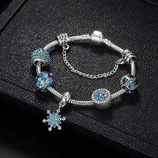 Qings Silver Plated Women's Bracelet Flower Beads Blue Diamond Snowflake Pendant Bracelet
