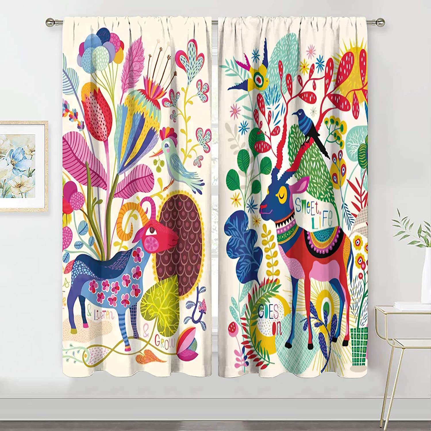 MESHELLY Boho Colorful Animal Curtains 42 (W) x 63(H) Inch Rod P