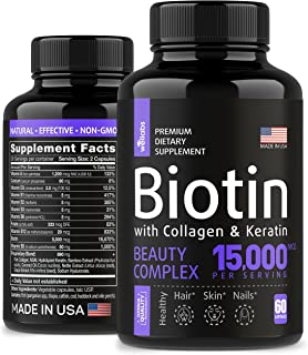Sponsored Ad - Biotin, Keratin & Collagen Pills – Fish Collagen & Biotin Vitamins for Hair, Skin, and Nails - Made in The ...