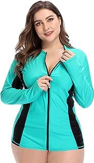 Womens Plus Size Long Sleeve Rash Guard Top Zipper Sufing Swim Shirt