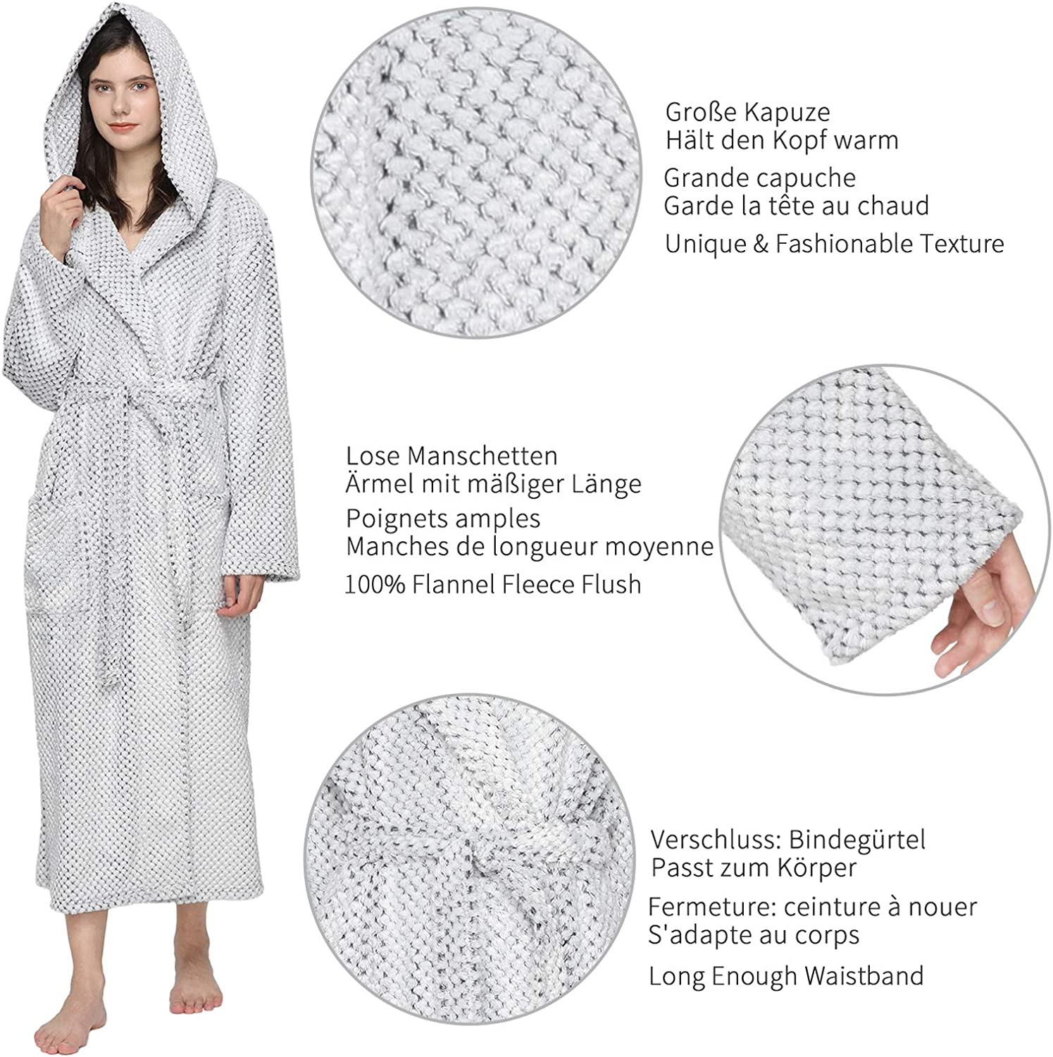 Mnemo Womens Hooded Dressing Gown Flannel Fleece Bathrobe and Towelling Robe