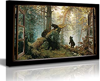 DJSYLIFE Open Window Canvas Wall Art Black Bears in Forest Painting Modern Artwork Animal Pictures for Living Room Bedroom...